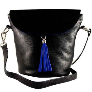 Chelsea-all-black-with-blue-tassel-and-silver-hardware